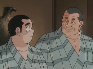Beefy man in japanese anime